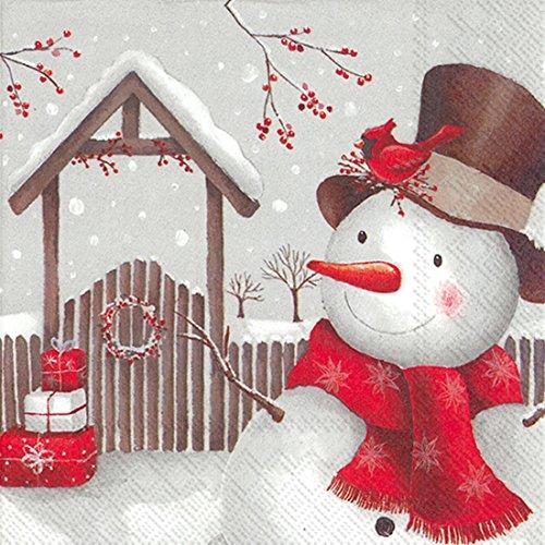 IHR Natale Tovaglioli di carta sorridente Festive Pupazzo di neve per il pranzo a 3strati tavolo Natale Tovaglioli
