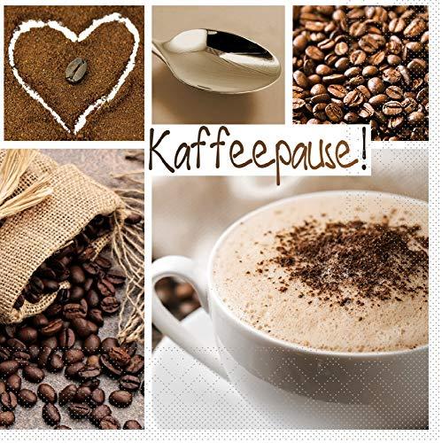 Serviette Kaffeepause aus Tissue 33x33cm, 20 Stück