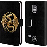 Official Anne Stokes Dragon Medal Fire Tribal Leather Book Wallet Case Cover For Samsung Galaxy S5 mini