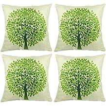 Luxbon Set di 4pc verde naturale grande albero della vita cuscino copre resistente cotone lino Thow cuscini Shell case1845x 45cm 45x 45cm