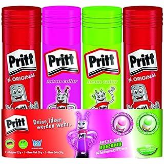 Pritt Klebestift Mix Pack/2 Pritt Stifte Original, 1 Klebestift Grün, 1 Klebestift Pink/Lösungsmittelfrei/Wasserlöslich/Klebestift für Kinder/Ablösbar/Pritt Klebestifte (2 x 22 g, 2 x 20 g)