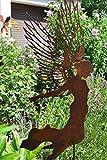 Gartenstecker Engel mit hohen filigranen Flügel - Gesamthöhe ca. 120cm - Metall mit Edelrost -Gartendekoration - sehr gute stabile Qualität, frostsicher