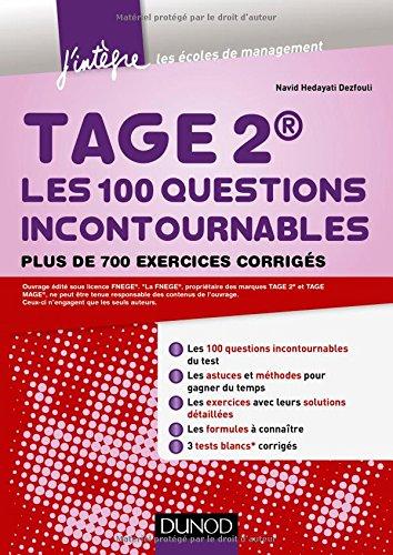 TAGE 2® Les 100 questions incontournables - Plus de 700 exercices corrigés par (Broché)