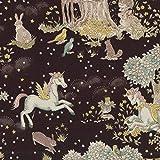 Kokka Unicorn Tessuto – Unicorns Forest Black – Oxford Cotone – KOK020 – 0,5 Metri 100% Cotone Oxford