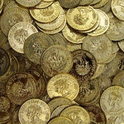 3 BAGS - Toy Plastic Money Gold Coins 144 count bag Pirates Loot Veni Vidi Vici by RINCO