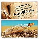Save the Date Karten zur Hochzeit (30 Stück) - Flaschenpost Motiv - Hochzeitskarten