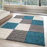 Modern designer Shaggy Teppiche in kariert Form für Wohnzimmer, Gästezimmer. Die Teppiche sind mit 3 cm Florhöhe und OEKOTEX zertifiziert, Farbe:Türkis, Maße:80x150 cm