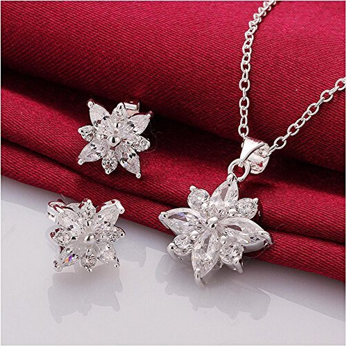 Landsell Fashion Charm Schneeflocke Sterling-Silber Swarovski-Kristall Strass &Jewelry Halskette Ohrringe ()