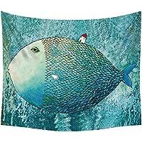 Cdet 1x Tapisserie Fisch Wandteppich Wall Hanging, Bed Sheet, Comforter Picnic Beach Sheet, Heimwerker Kunst 148x130cm