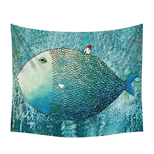 Ruikey Tapiz de Pescado Lindo y Creativo Tapiz de Pared Alfombra de Playa Sala Decoración de Arte Creativo 148x130cm