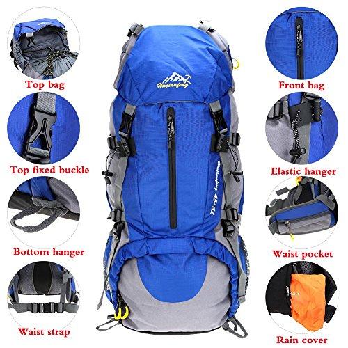 Imagen de  impermeable 50l  con cubierta de lluvia para deportes al aire libre senderismo trekking camping viajes montañismo escalada aventura azul  alternativa