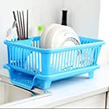 Uspech 3 in 1 Durable Plastic Sink Dish Drying/Draining Rack/Holder/Basket Organizer with Tray Utensils Tools Cutlery…