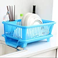Ashoka's Mart 3 in 1 Durable Plastic Kitchen Sink Dish Drying Drainer Rack Holder Basket Organizer with Tray Utensils Tools Cutlery (Blue)