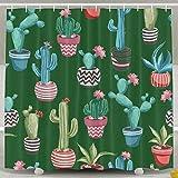 Suminla-Home Kakteen Blumen Muster geruchlos Wasserdicht Dusche Vorhänge für Badezimmer Premium 100% Polyester Stoff Deko Wanne Vorhang Designs für Vater 's Day Muttertag 152,4x 182,9cm
