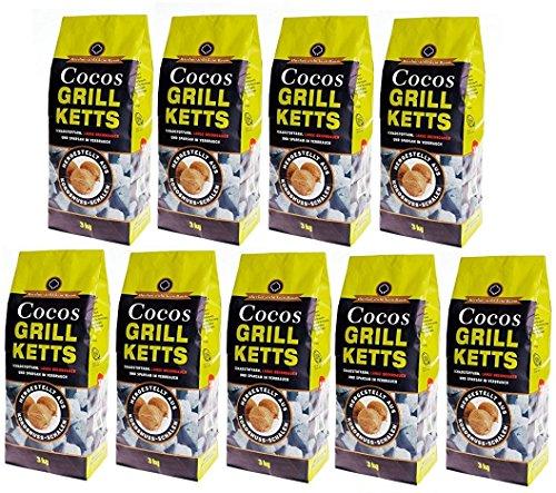 27 kg Cocos Grillketts aus Kokosnuss-Schalen - ökologisch, Schadstoffarm, lange Brenndauer