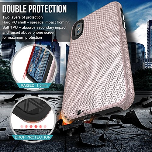 GR Für IPhone X Dual Layer Doppelschutz PC + TPU Drop Resistant Shockproof Hybrid Armor Shell Cover Case ( Color : Gold ) Rosegold