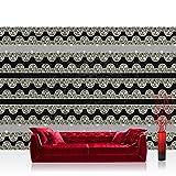 Fototapete 368x254 cm PREMIUM Wand Foto Tapete Wand Bild Papiertapete - Ornamente Tapete Spitze Streifen Blumen Diamant Schnörkel Vintage schwarz - weiß - no. 751