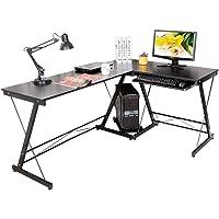 Py Bureau Informatique Table d'Angle Ordinateur Noir 158 * 120 * 73cm-035