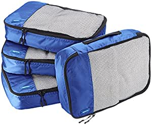 AmazonBasics Packing Cubes/Travel Pouch/Travel Organizer - Medium, Blue (4-Piece Set)