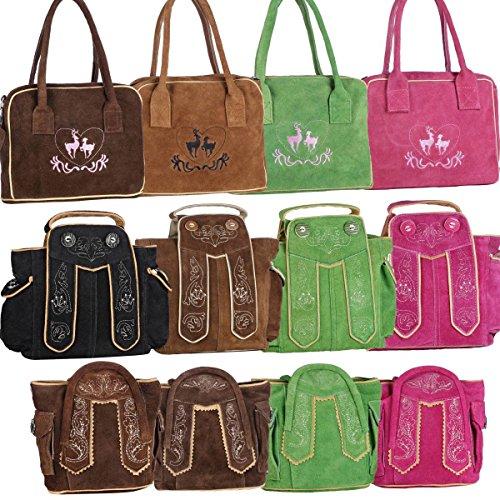 Dirndltasche Handtasche Trachten Tasche aus echtem Leder, 15cm, pink