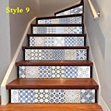 GPFDM Arabischen Stil Simulation Keramikfliese 3D Treppen Aufkleber Mode Zuhause Gang Dekoration Mehrzweck DIY Tapete Wasserdicht Selbstklebend Wandgemälde Abnehmbar PVC Wandtattoos , style 9 , 100*18cm*18pcs
