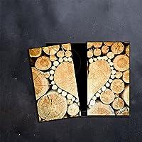 Glas-Herdabdeckplatte Ceranfeldabdeckung Zweiteilig 2x30x52 Herzen Holz