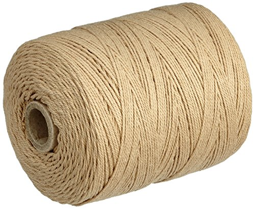 Rayher 7205303 Kettgarn, Rolle  220 m, Nr. 9, 0,8 mm stark, 6-fädig, beige, 100{4b3d004e4ac52aaf2502183e09ce255275bf4c871c7d2578d64f77feaf9c95cf} Baumwolle, zum Bespannen von Webrahmen