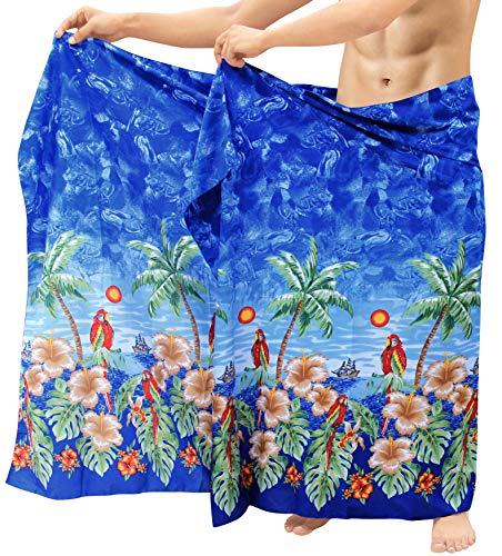 Sarong Bekleidung Pareos (LA LEELA Pareo Sarong Wickeln Coverup Männer Wear Aloha Badeanzug Badeanzug Schwimmen blau)