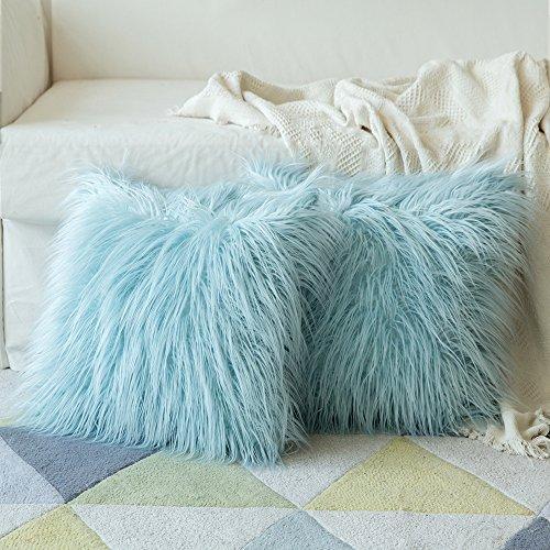 MIULEE 2er Set Soft Solid Dekorative Quadrat Pelz Throw Kissenbezüge Set Kissen Fall für Sofa...