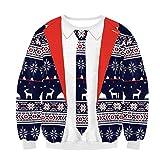 Felicove Christmas Sweater Damen Weihnachtspullover Weihnachten Pulli Xmas Einhorn REH Bambi Rudolph Rentier Rote Puschelnase