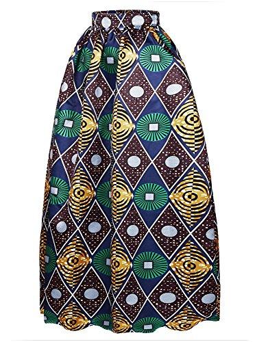 Afibi donne africano stampato casuale maxi gonna flared gonna multisize una linea gonna (s-3xl) (medium, modello 4)