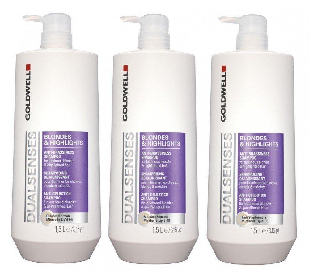 Goldwell punto & Highlights Shampoo + pompa 3�x 1500�ml Dualsenses anti giallo GW Biondi