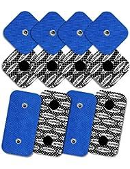 8 electrodos con 1 SNAP, 50 x 50 mm y 4 electrodos con 2 SNAPS, 50 x 100mm, TENSPAD SILVER compatibles con COMPEX, Sanitas; Beurer; Hydas