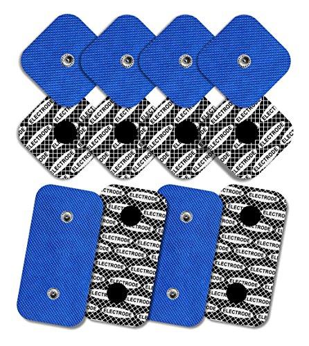 12 Elektroden mit Silber Muster für Compex (8 Elektroden 50x50mm und 4 Elektroden 50x100mm mit 2 SNAP-Anschlüssen) -