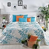 Sancarlos - Colcha algodón tegan azul azul - esquinas redondeadas - piqué estampado - lavado fácil y secado rápido