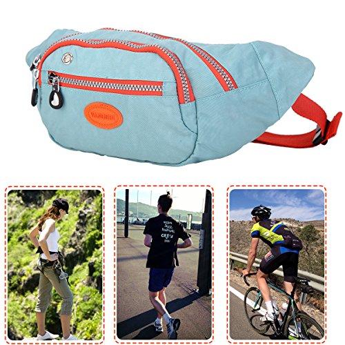 Stilvolle Nylon Fanny Pack Bum Bag Fashion Taille Tasche für Wandern Radfahren Reisen aquamarin