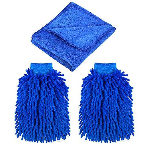 Bytan-Waschhandschuh-Mikrofaser-Wasserdicht-2-Stcke-Autowaschhandschuh-Microfasertuch-weicher-Korallen-Chenille-Handschuh-mit-Reinigungstuch-Trockentuch-Poliertuch-fr-Autowsche-Reinigung-Auto-Motorrad