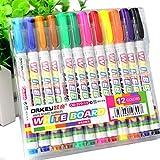 Lailongp 12couleurs marqueur pour tableau blanc, non toxique stylos marqueur effaçable à sec avec panneau Pointe fine d'école d'alimentation