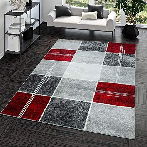 T&T Design Alfombra De Salón Moderna Económica Diseño Cuadros En Gris Rojo Al Mejor Precio, Größe:160x220...