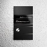 Funk-Türklingel Edelstahl – schwarz satiniert – 500 m Reichweite – wasserdichter Taster – mit Gravur – Funk-Gong Grothe