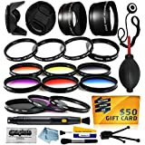 58mm Professional Lenses Filters Accessories Kit Includes 0.43x Wide Angle + 2.2x Telephoto HD Lens + UV CPL Warming + Graduated 6 Piece Color Filter + Macro Close Up Set + Tulip Lens Hood + Lens Cap With Keeper + Cleaning Kit + Dustoff Blower + 50$ Digit