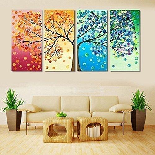 Alcyoneus Tele senza cornice con un motivo con alberi colorati, dipinto per decorazione di soggiorni, composto da 4 tele, 40cm x 80cm