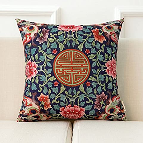 zzyhome-creative sofá cojín manta almohada decoración del hogar oficina y coche decorativo funda de almohada, chino, campana chino patrón Serie B (45x 45cm)