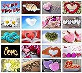 Set 20 Postkarten mit Herz Motiven - Postkarten zur Hochzeit - Geschenkidee - Hochzeitsspiel - Postkarten Liebe - Postcrossing - Geburtstag - Danke