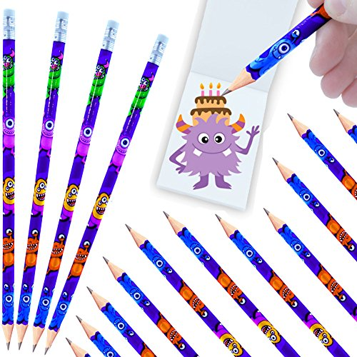 German Trendseller® - 24 x Monster - Party - Bleistifte mit Radierer┃ NEU ┃ Kindergeburtstag...