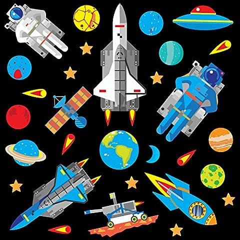 GET STICKING DÉCOR® Weltraum, Weltraumrakete Wandtattoo, Wandsticker Kollektion, Deep Blue Rock.4, Glänzend Herausnehmbar Vinyl, Multi Farbe. (Medium)