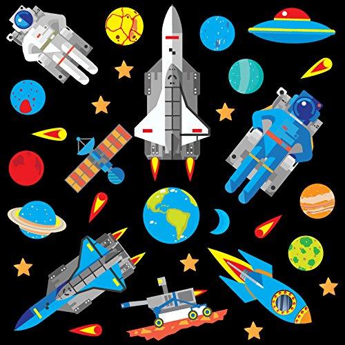 Rakete Wandtattoo (GET STICKING DÉCOR® Weltraum, Weltraumrakete Wandtattoo, Wandsticker Kollektion, Deep Blue Rock.4, Glänzend Herausnehmbar Vinyl, Multi Farbe. (Medium))