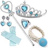 NNDOLL Set da Principessa Elsa dei Ghiacci, Diadema, Guanti, Bacchetta Magica e Treccia a Clip 2-9 Anni, (Azzurro 6pz)