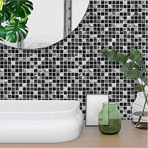 Kitchen Tile Stickers - Backsplash Protection | Self Adhesive Decorative Wall Tile Transfers for Bathroom Tiles Design | Decals for Home Decor | , Black mosaic 10pcs, TS039 , 15cm*15cm