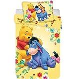 Jerry Fabrics Set di Biancheria Winnie The Pooh Disney per Bambini, in Cotone, Multicolore, Dimensioni 40 x 60 + 100 x 135 cm